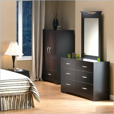 South Shore Back Bay Double Dresser and Mirror Set in Dark Chocolate