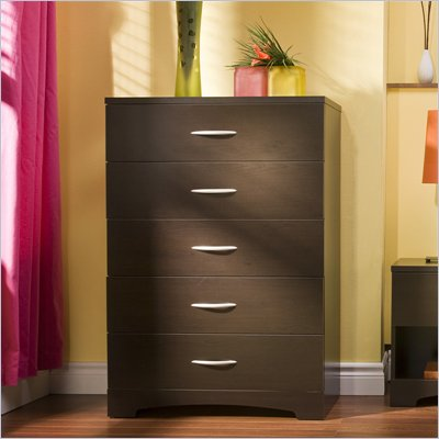 South Shore Back Bay 5 Drawer Chest in Dark Chocolate Finish