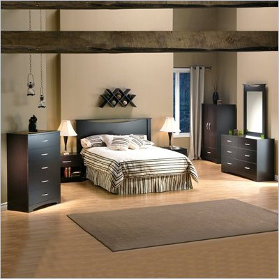 South Shore Back Bay Dark Chocolate Wood Panel Headboard 4 Piece Set