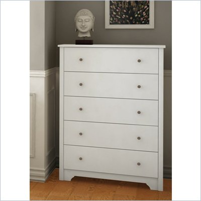 South Shore Breakwater 5 Drawer Chest in Pure White Finish