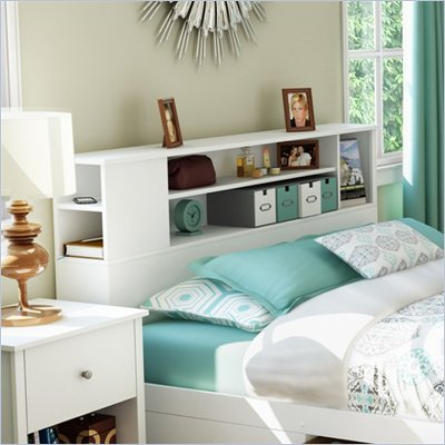 South Shore Breakwater Full / Queen Bookcase Headboard in Pure White Finish