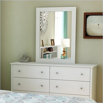 South Shore Breakwater Dresser and Mirror Set in White