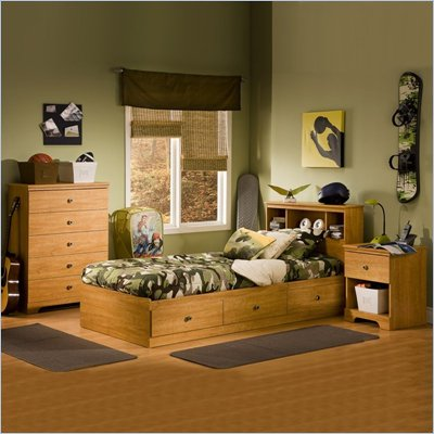 South Shore Brinley Twin Mates Storage Bed Frame Only in Florence Maple Finish