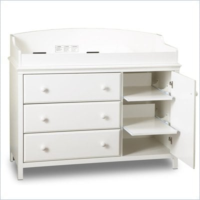 South Shore Cotton Candy Three Drawer Wood Changing Table in White 