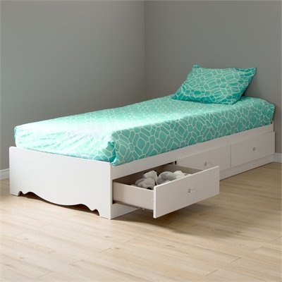 South Shore Crystal Twin Mates Storage Bed Frame Only in Pure White Finish