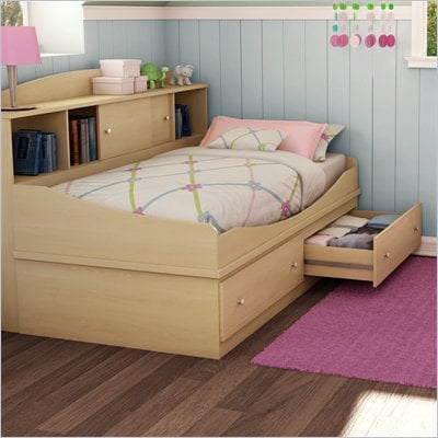 South Shore Drew Twin Mates 39&quot; Bed in Natural Maple Finish