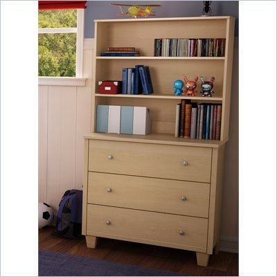 South Shore Drew 3 Drawer Chest with Hutch in Natural Maple Finish