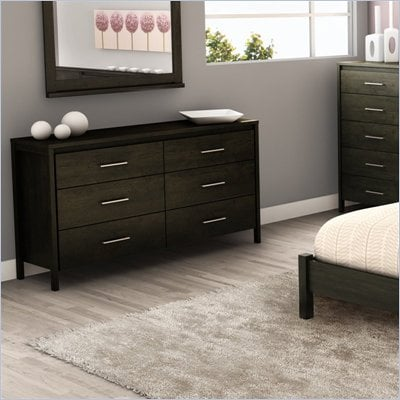 South Shore Gravity 6 Drawer Double Dresser in Ebony Finish