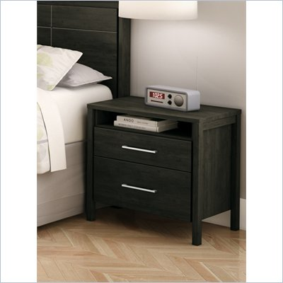 South Shore Gravity 2 Drawer Nightstand in Ebony Finish