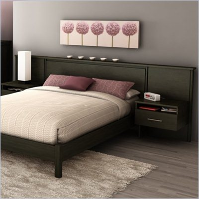 South Shore Gravity Queen Platform Bed and Headboard/Nightstand Kit in Ebony Finish