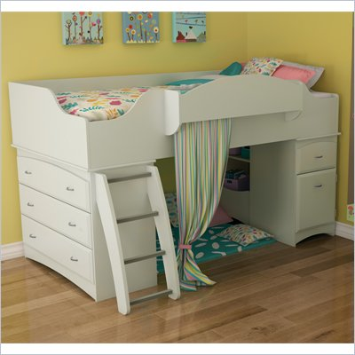 South Shore Imagine Twin Loft Bed in Pure White