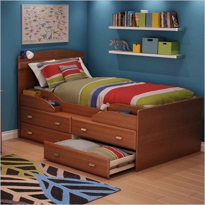 South Shore Imagine Kids Twin Captain's Bed in Morgan Cherry Finish
