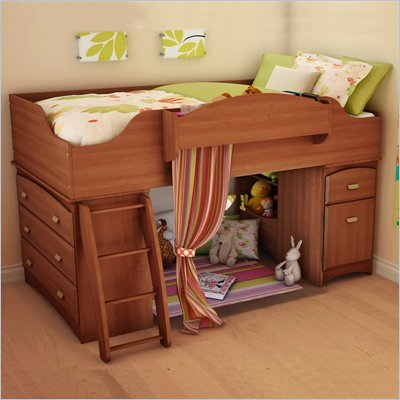 South Shore Imagine Kids Wood Loft Bunk Bed in Morgan Cherry Finish