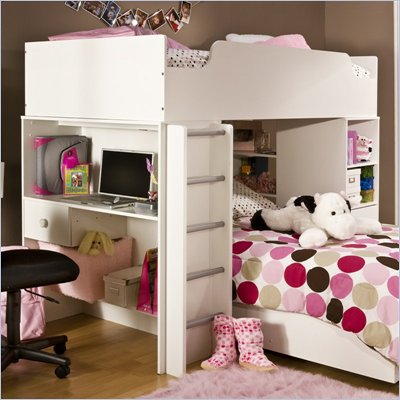 South Shore Logik Pure White Loft Top Bunk and Ladder