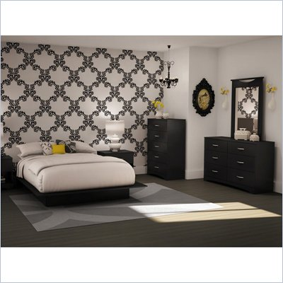 South Shore Maddox Full/Queen Black Wood Platform Bed 5 Piece Bedroom Set
