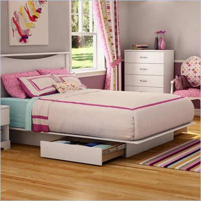 South Shore Maddox Full / Queen Storage Platform Bed Frame Only in Pure White Finish