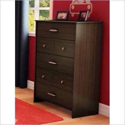 South Shore McLaren 5 Drawer Chest in Mocha