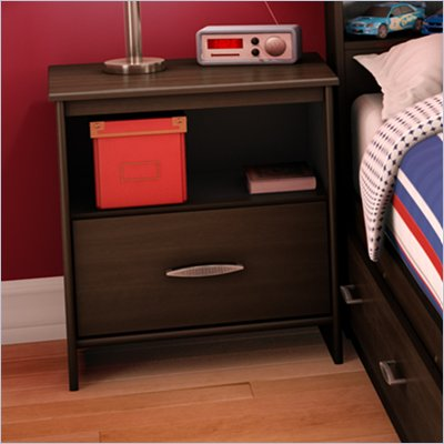South Shore McLaren 1 Drawer Nightstand in Mocha
