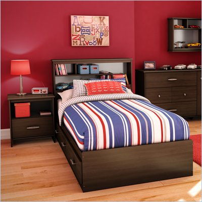 South Shore McLaren 2 Piece Twin Bookcase Bedroom Set in Mocha