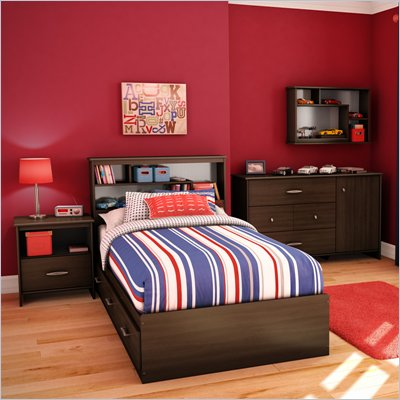 South Shore McLaren 4 Piece Twin Bookcase Bedroom Set in Mocha