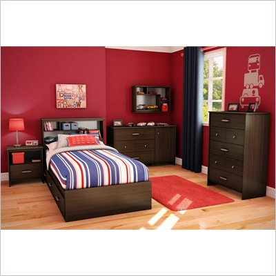 South Shore McLaren 5 Piece Twin Bookcase Bedroom Set in Mocha