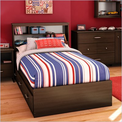 South Shore McLaren Twin Bookcase Bed in Mocha