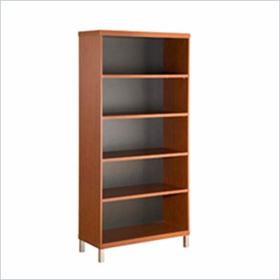 South Shore Metropole 5 Shelf  Wood Bookcase in Cherry and Black