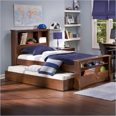 shore mika classic cherry kids wood bookcase bed 3 piece bedroom set