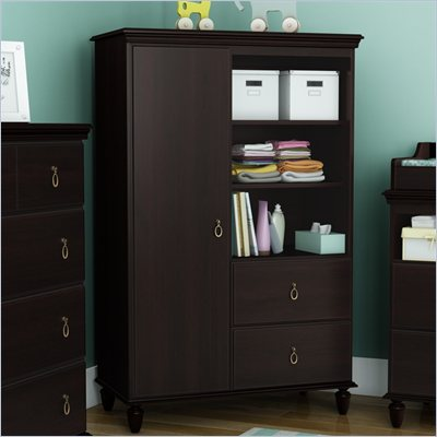 South Shore Moonlight Door Chest in Dark Mahogany