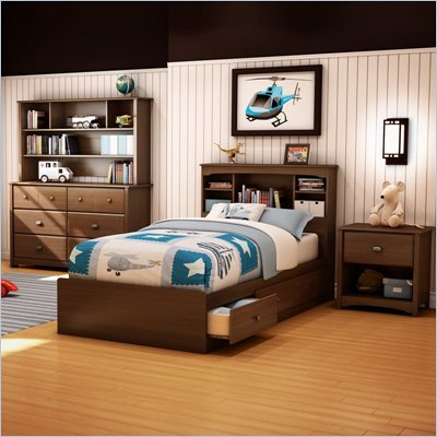 South Shore Nathan Kids Twin Mates Bed 4 Piece Bedroom Set in Sumptuous Cherry Finish