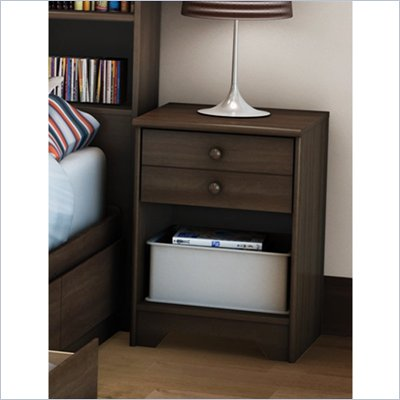 South Shore One Drawer Shaker Style Newton Nightstand in Moka Finish
