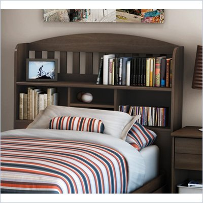 South Shore Newton Twin 39&quot; Bookcase Headboard in Moka Finish
