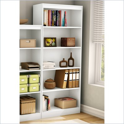 South Shore 5 Shelf Bookcase in Pure White