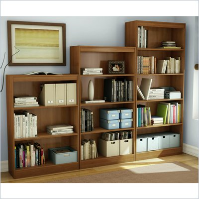 South Shore 3 Piece Bookcase Set in Morgan Cherry