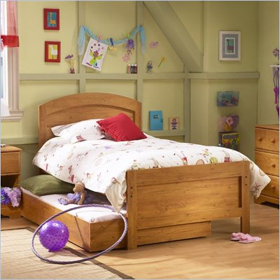 South Shore Prairie Kids Twin Wood Panel Bed in Country Pine Finish