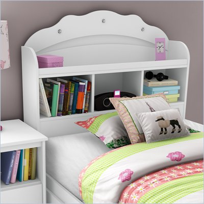 South Shore Sabrina Twin Bookcase Headboard in Pure White