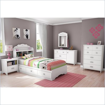 South Shore Sabrina 5 Piece Twin Bookcase Bedroom Set in Pure White