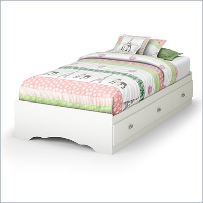 South Shore Sabrina Twin Mates Bed in Pure White