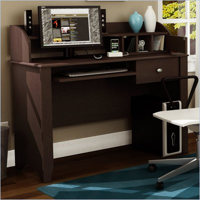 South Shore Wood Writing Desk with Hutch in Chocolate