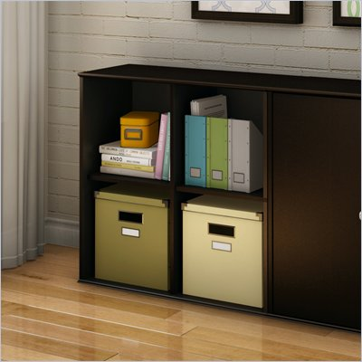 South Shore Stor It 4 Cubby Storage Unit in Chocolate