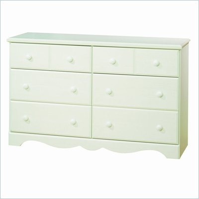 South Shore Summer Breeze 6 Drawer Dresser in White Wash 