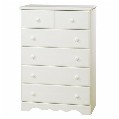 South Shore Summer Breeze 5 Drawer Chest in White Wash Finish