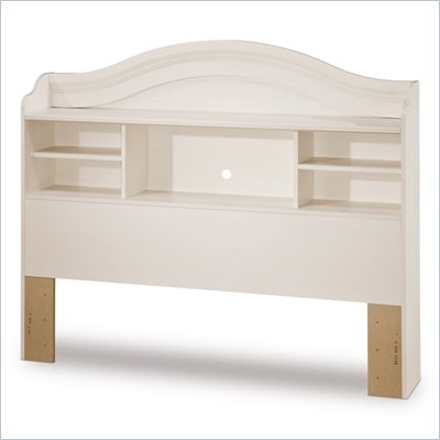 South Shore Summer Breeze Full Bookcase Headboard in Fresh White Wash Finish
