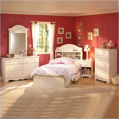 South Shore Summer Breeze Kids Twin Wood Bookcase Bed 3 Piece Bedroom Set in Vanilla Cream