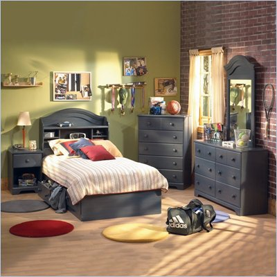 South Shore Summer Breeze Blueberry Twin Captain 6 Piece Bedroom Set