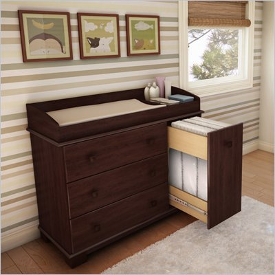 South Shore Sunny Baby Changing Table in Royal Cherry Finish