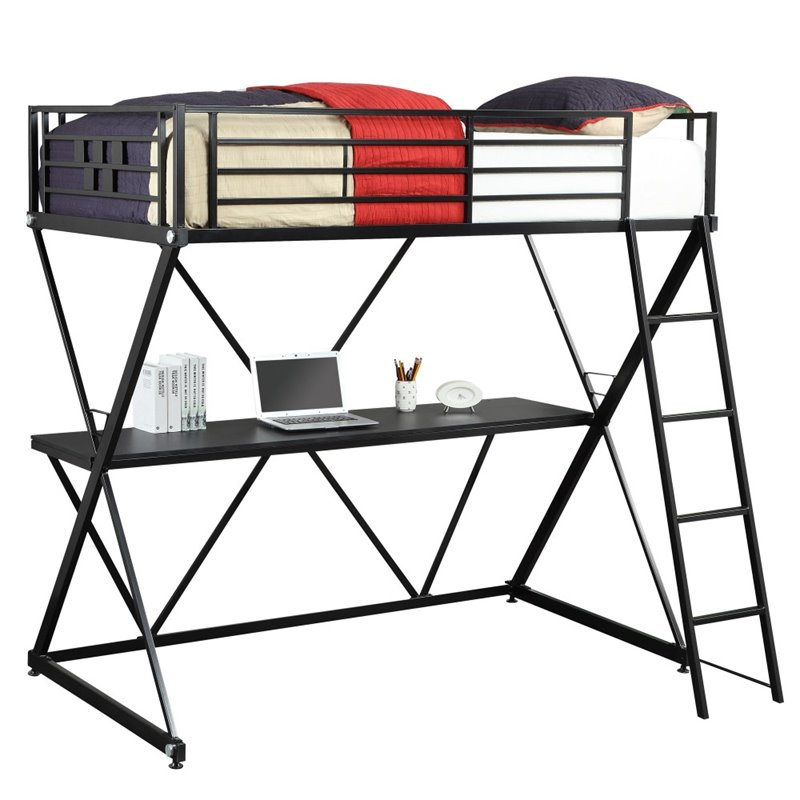 4d Concepts Zinnia Twin Loft Bed In Matte Black