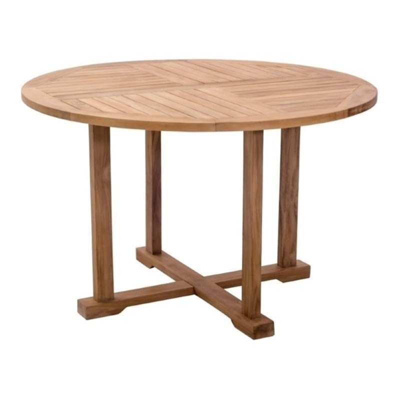Brika Home Round Patio Dining Table in Natural
