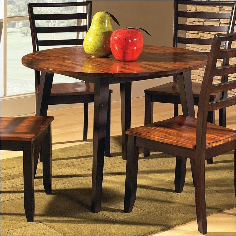 Bowery Hill Double Drop Leaf Round Casual Dining Table in Acacia Finish