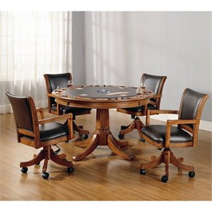 Bowery Hill 5 Piece Game Set in Medium Brown Oak